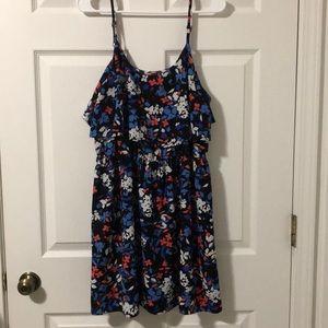 Elle Black Base Floral Drop Waist Dress